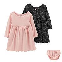 Набір 2 сукні з трусиками для дівчинки Carters чорне і рожеве