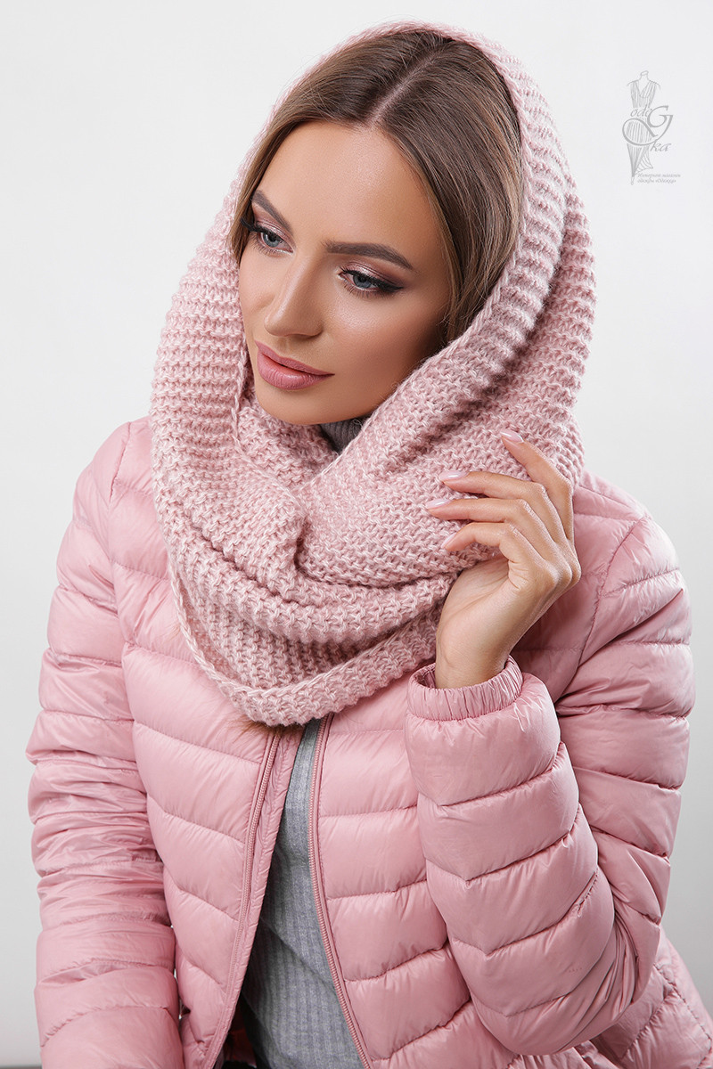 Вязаный шарф Снуд Меланж из смесовой пряжи шерсть-акрил