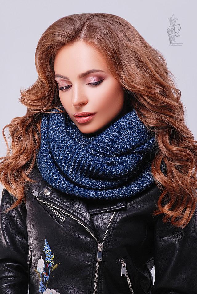 Синий цвет Вязаного шарфа Снуд Меланж