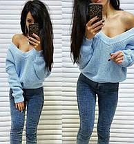 Тёплый и стильный свитер с глубоким вырезом, размер единый, фото 3