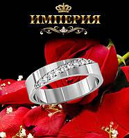 Кольцо обручальное с камнями серебряное