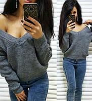 Тёплый и стильный свитер с глубоким вырезом, размер единый