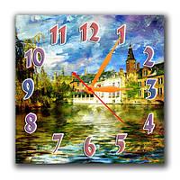 """Настенные часы """"Старинный городок"""" 30х30 см оригинальный подарок"""
