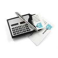 Визитница с калькулятором и шариковой ручкой