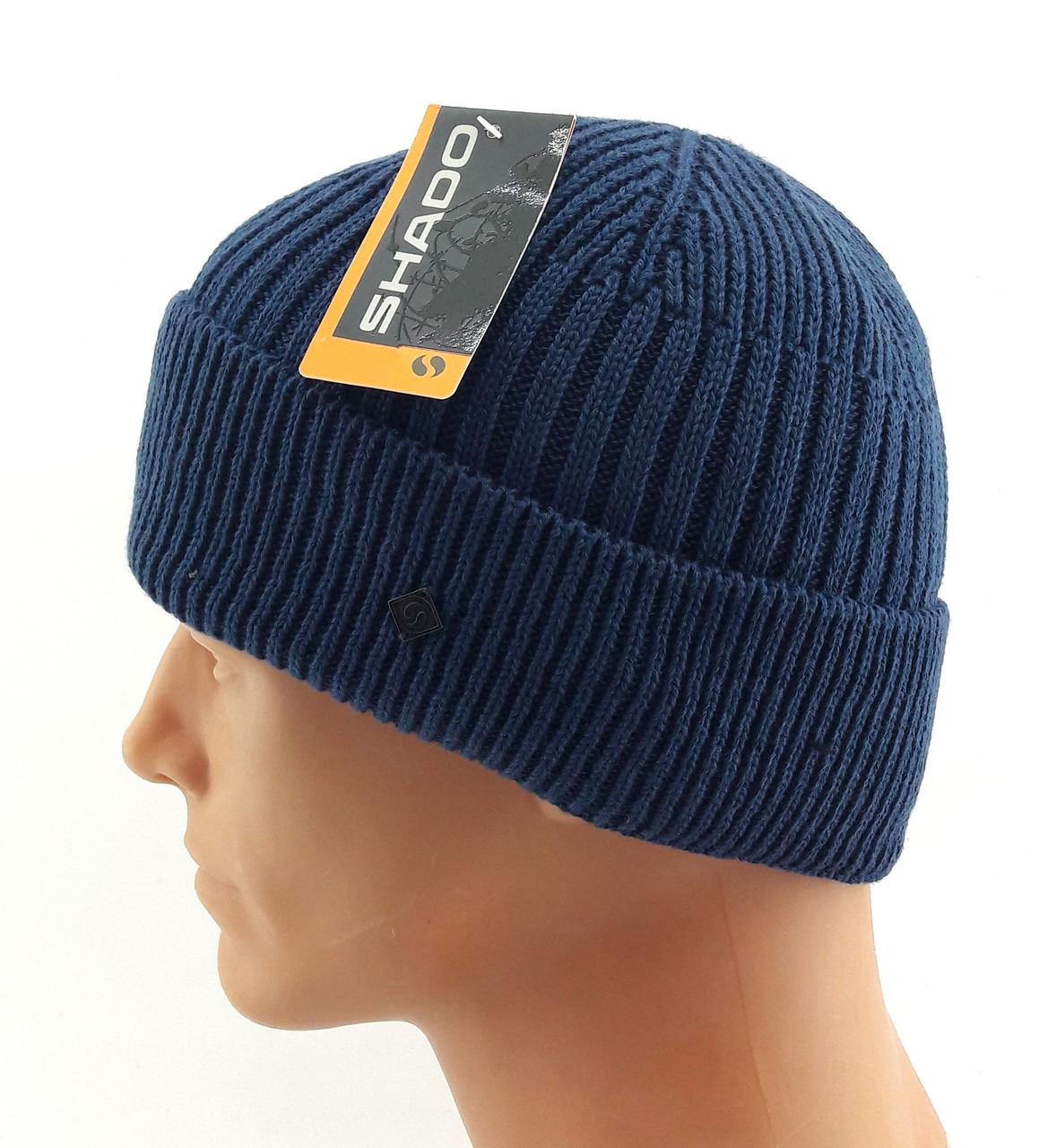 вязаная шапка мужская с заворотом Shado размер универсальный шб122