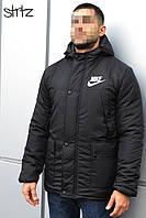 Мужская зимняя черная куртка-парка, зимова куртка Nike, Реплика
