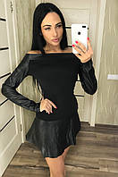 Женское трикотажное платье с кожаными вставками, фото 1