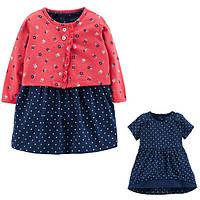 Комплект плаття-боді з кардіганом для дівчинки Carters синє в горох