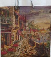 Пакет подарочный бумажный крафт квадрат 23х24х10 (24-129)