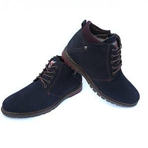 Молодежные мужские синие ботинки Харьков: зимние, натуральная кожа-нубук, на меху, от фабрики Affinity