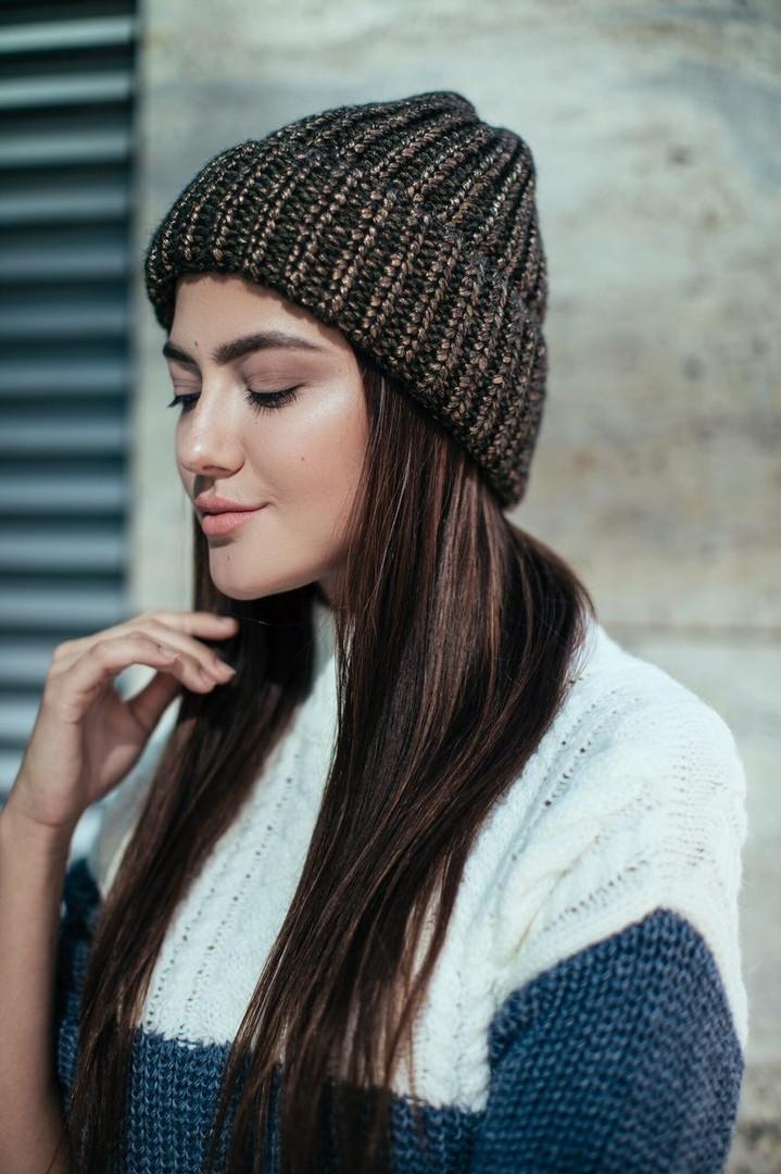 женская стильная вязаная шапка вязка меланж в расцветках продажа