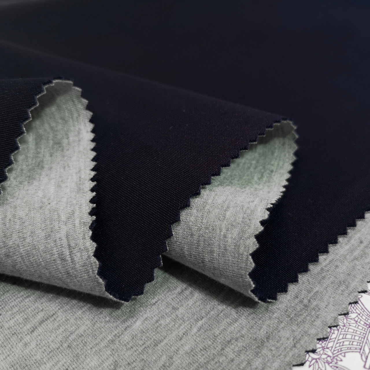Трикотаж неопрен двусторонный синий - серый