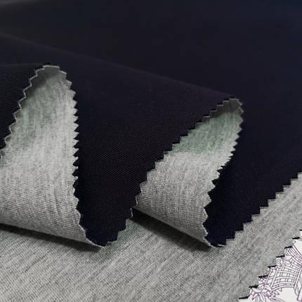 Трикотаж неопрен двусторонный синий - серый, фото 2