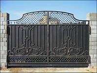 Кованые ворота с решоткой
