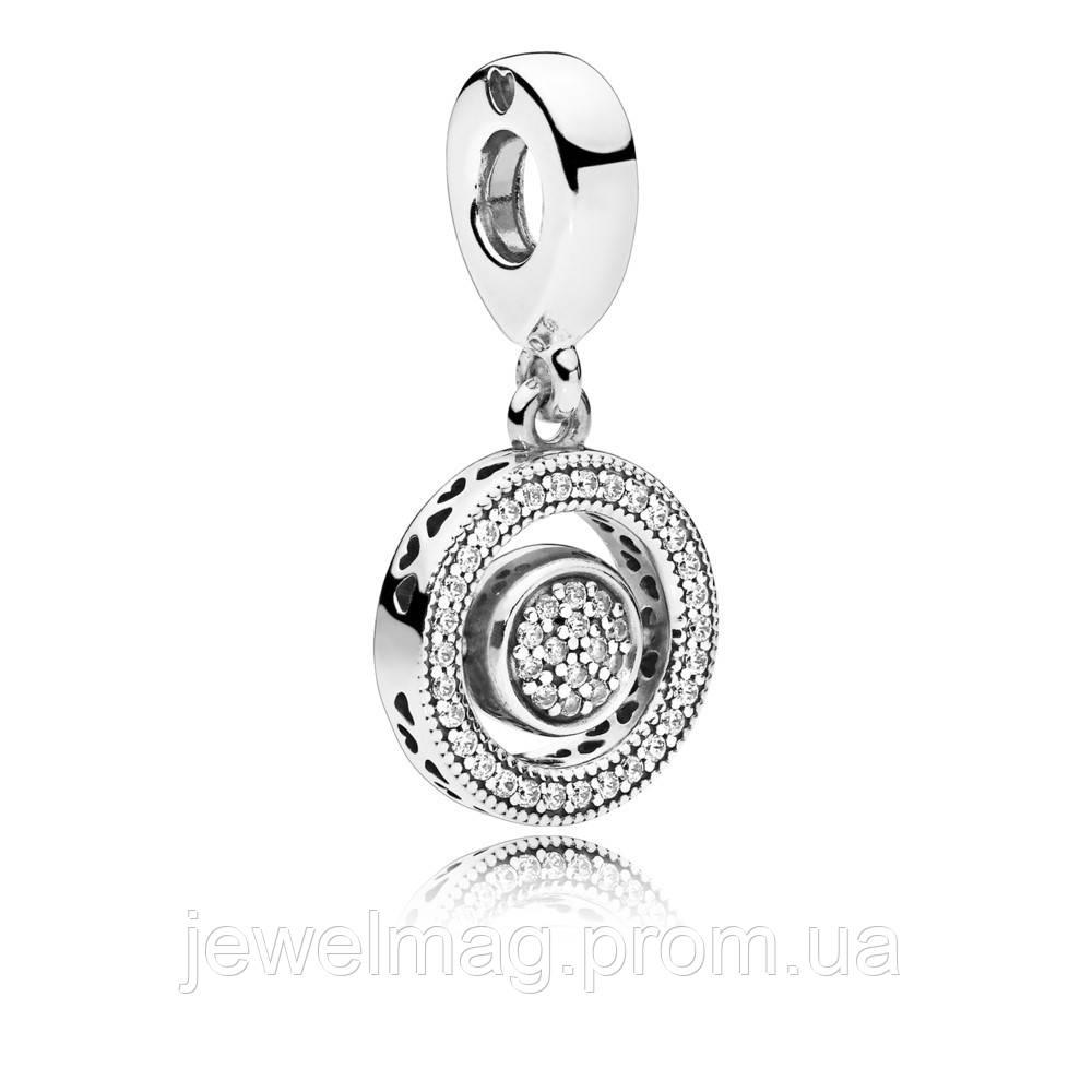 Подвеска-шарм «Логомания» из серебра 925 пробы, кубический оксид циркония (серебрянный кулон)