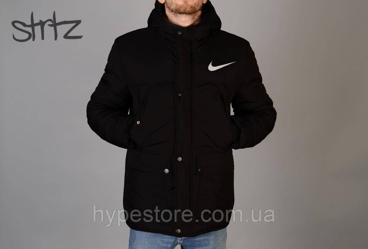 93524ad9 Мужская зимняя черная куртка-парка, зимова куртка Nike, найк, Реплика