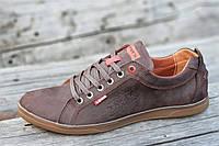 Кроссовки мужские кожаные коричневые Levisлевис (код 8579) - кросівки чоловічі шкіряні коричневі Levisлевіс