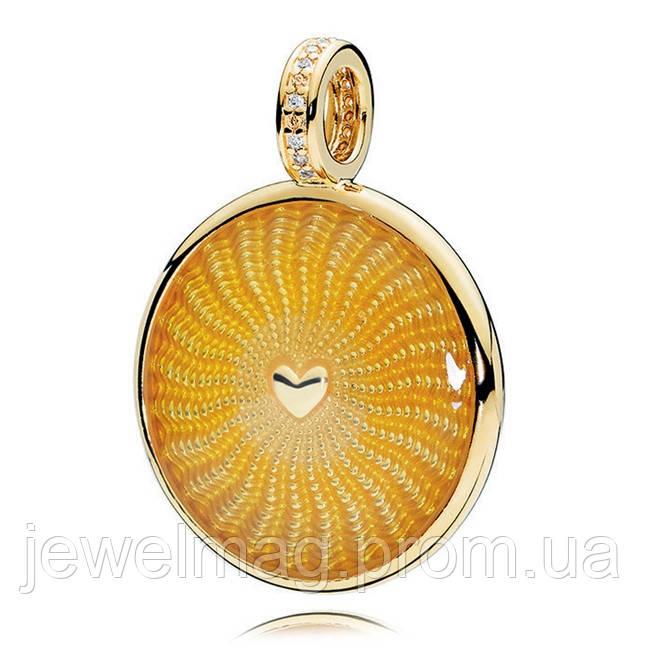 Подвеска-шарм «Лучи света» из серебра 925 пробы и золотым покрытием