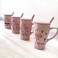 Чашка фламинго большая с крышкой и ложечкой