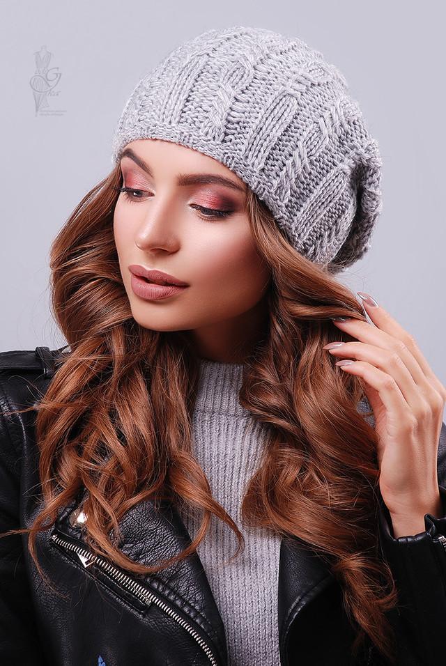 Цвет серый Вязаных женских шапок Ула