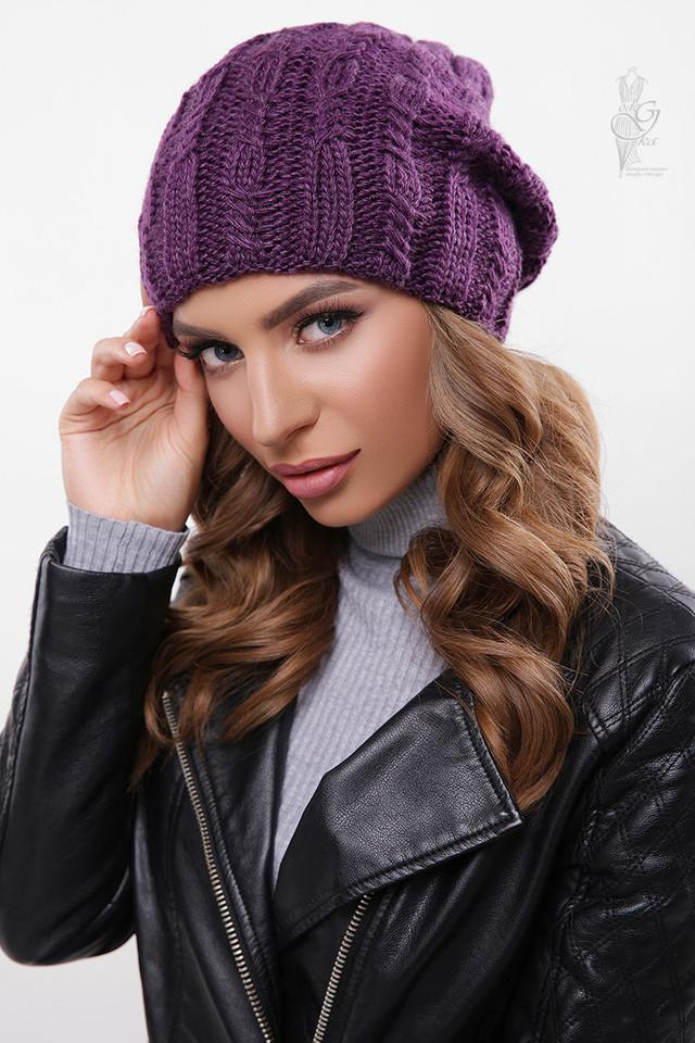 Цвет фиолетовый Вязаных женских шапок Ула