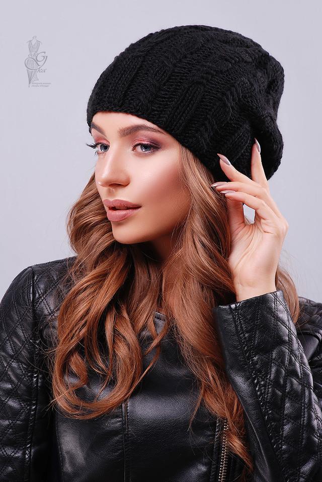 Цвет черный Вязаных женских шапок Ула