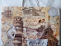 Пакет подарочный бумажный крафт большой горизонтальный 36х25х10 (26-006)