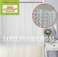 Силиконовая шторка для ванной комнаты с 3D эффектом, размер 180х180 см., бело-прозрачная, фото 1
