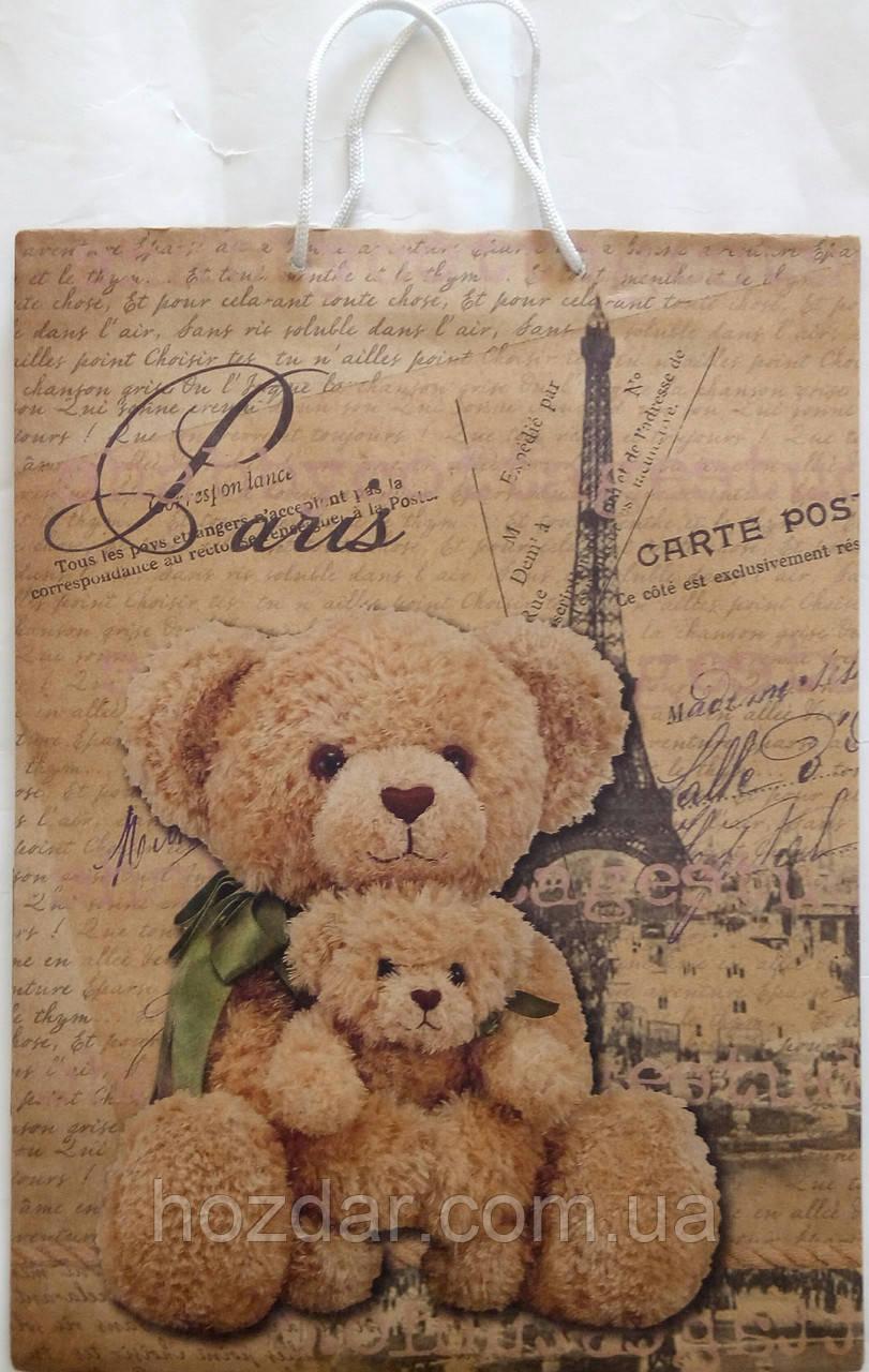 Пакет подарочный бумажный крафт гигант вертикальный широкое дно 30х40х17 (31-014)