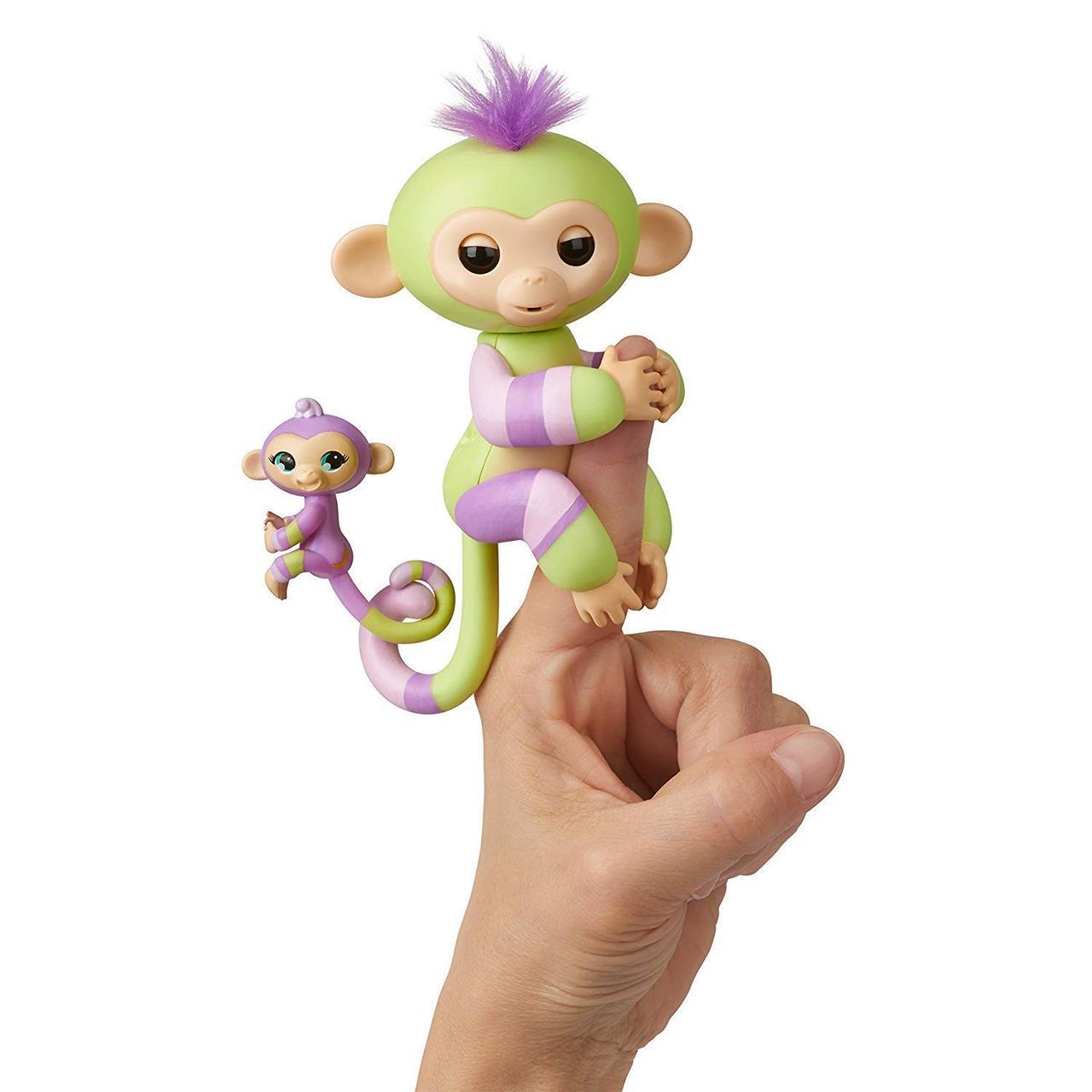 Интерактивная ручная обезьянка мама и малыш Джесс и Иден, WowWee Fingerlings Baby Monkey & Mini BFFs