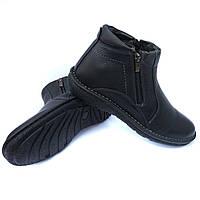 Харьковская кожаная обувь от производителя detta: зимние мужские ботинки, черного цвета, на натуральном меху