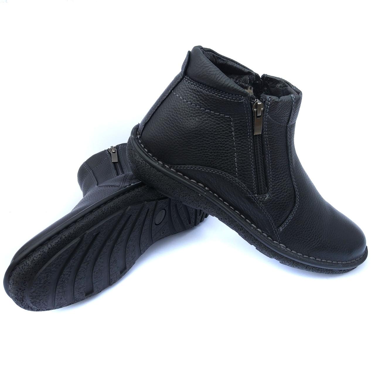 ea7d109c Харьковская кожаная обувь от производителя detta: зимние мужские ботинки,  черного цвета, на натуральном