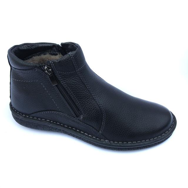 Харьковская кожаная обувь от производителя detta зимние ботинки черного  цвета на натуральном меху для старших мужчин 446256ae4dd