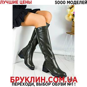 Женские зимние сапоги на каблуке 5,5 см, цвет оливковый | сапоги женские, кожаные, с декором, стильные