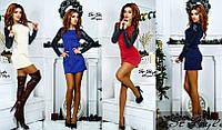 Женское стильное платье с кожаными рукавами , фото 1