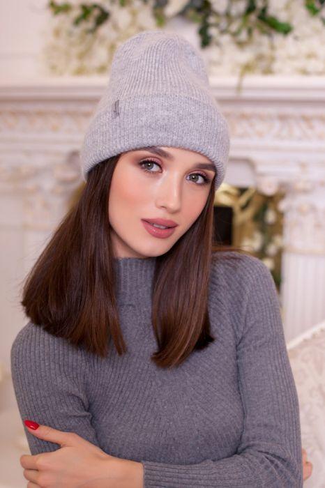Зимняя женская шапка-колпак «Мерида» Светло-серый