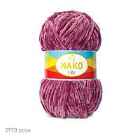 Плюшевая пряжа Nako Lily 2970 роза (Нако Лили, Нако Лилу) нитки для вязания 100% полиэстер