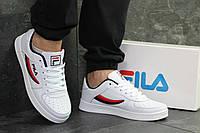 Кроссовки мужские белые с красным Fila 6381, фото 1