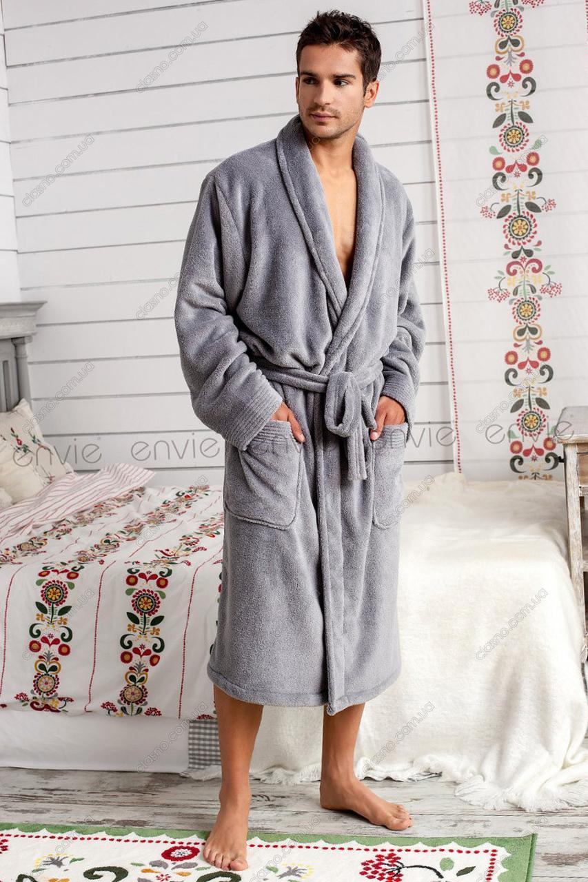 acedb7dab9072 Мужской халат махровый Турция синий и коричневый цвет 46-54р - Территория  низких цен в