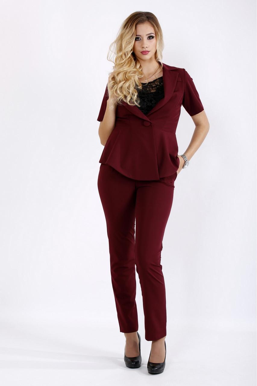 8654ce4ebf8 Стильный бордовый костюм для полных женщин 0948 - V Mode