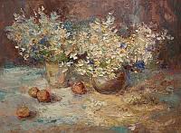 Ромашки и абрикосы. Картина маслом цветы.