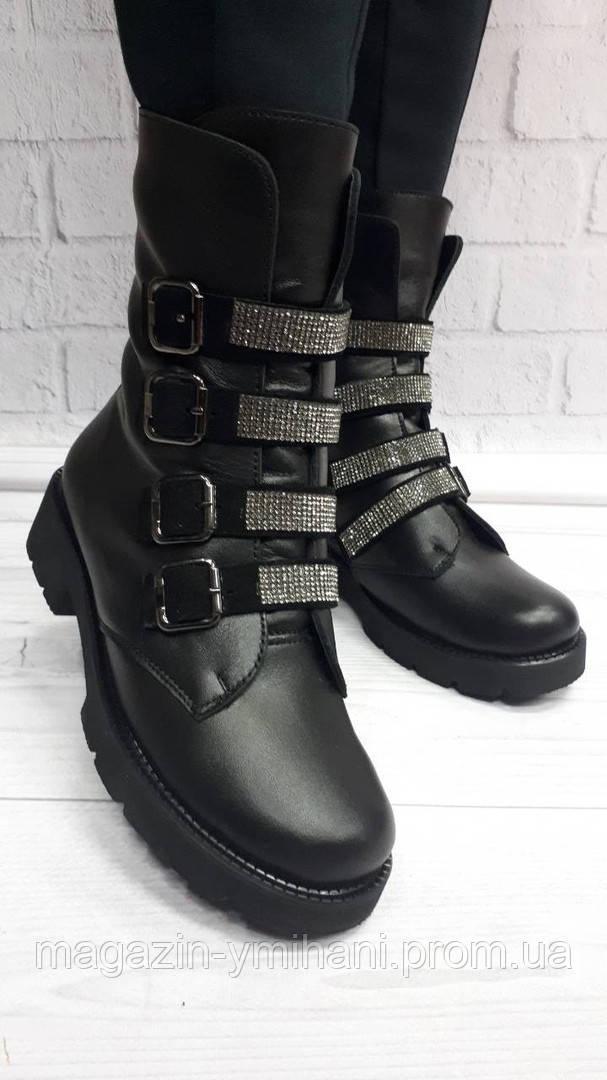 Черные кожаные высокие женские зимние ботинки . Украина  продажа ... 165d96ff605