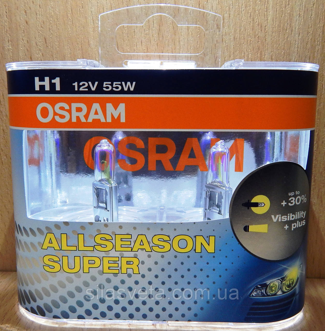 "Автомобильные галогенные лампы ""OSRAM"" (H1) (ALLSEASON SUPER) (+30%) (12V) (55W)"