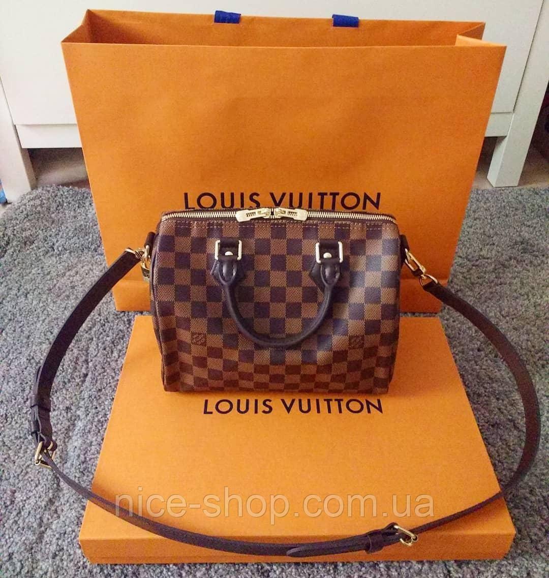 Сумка Louis Vuitton Speedy Mini кожа 25 см,коричневая шахматка
