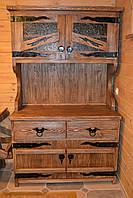 Буфет из массива сосны под старину ( декорирован кованными элементами, стеклом).