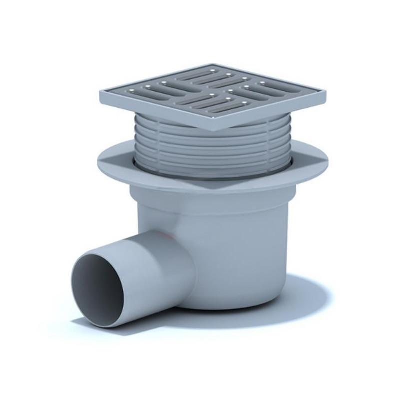 Трап ANI Plast TA5602 горизонтальный, регулируемый, выпуск 50 мм с нержавеющей решеткой 10x10 см