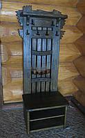 Вешалка напольная под старину ( наполнение: крючки для одежды, полки для обуви, декорированная стенка)