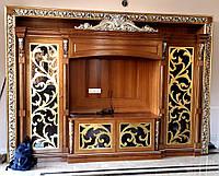 Гостиная стенка - массив ясеня, резьба, позолота, фото 1