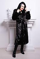 Длинная черная шуба под 100% натуральную норку из искусственного меха,норковая шуба с капюшоном черного цвета