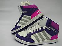 Кроссовки высокие для девочек/кеды в стиле Adidas детские/бело-фиолетовые кроссовки женские/модные кроссовки